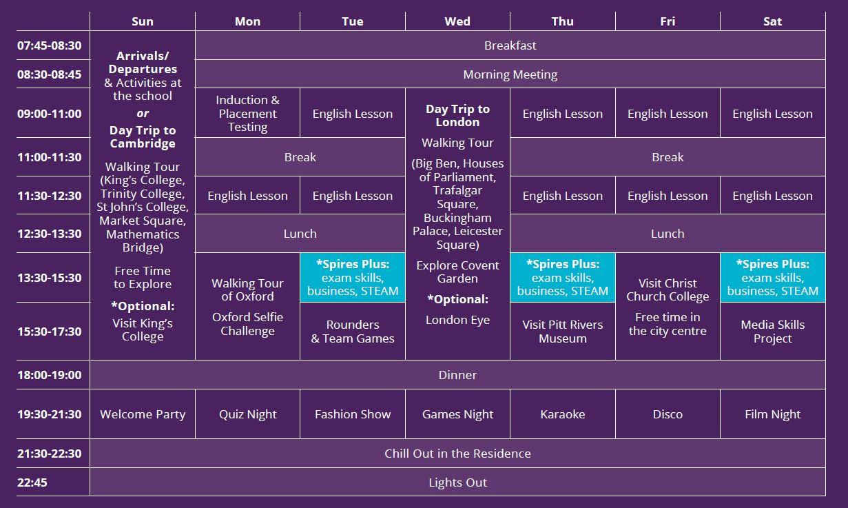 Sample language vacation timetable at Oxford Brookes University