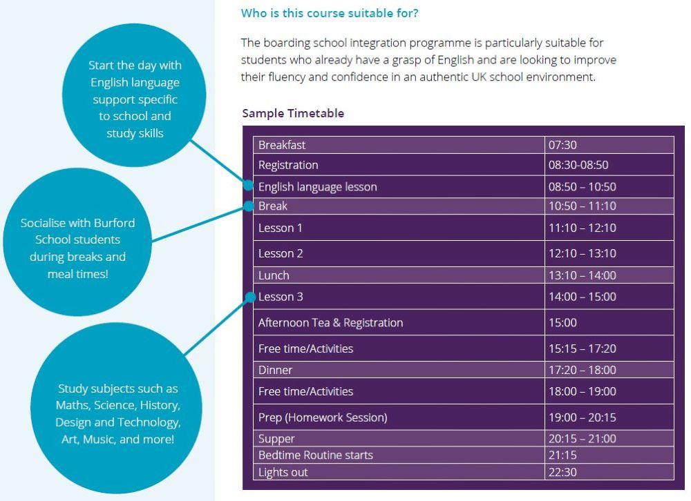 Sample timetable at Burford School